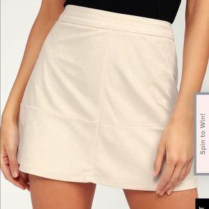 NWT Lulu's Shenandoah Beige Suede Mini Skirt